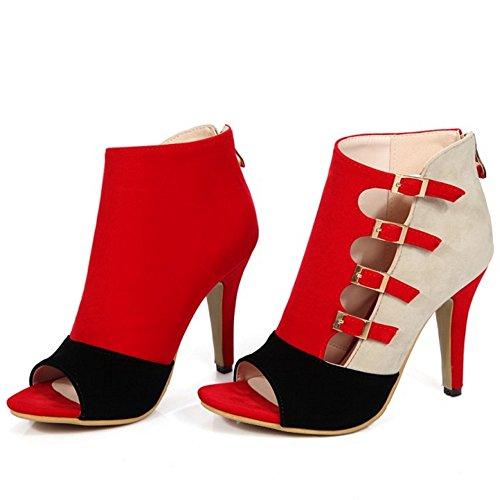 Coolcept Mujer Western Moda Peep Toe Tacon Alto Ankle Strap Cremallera Sandalias Rojo