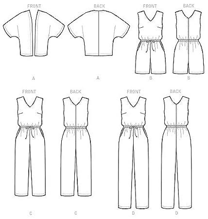 Butterick Patterns 6224 RR,Womens Kimono and Jumpsuit,Sizes 18W-20W-22W-24W