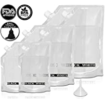 (6) Black & White Label Premium Plastic Flasks - Liquor Rum Runner Flask Cruise Kit Sneak Alcohol Drink Wine Pouch Bag Set Heavy Duty Reusable Concealable Flasks For Booze & Cocktails 2x32oz+2x16oz+2x8oz + Funnel
