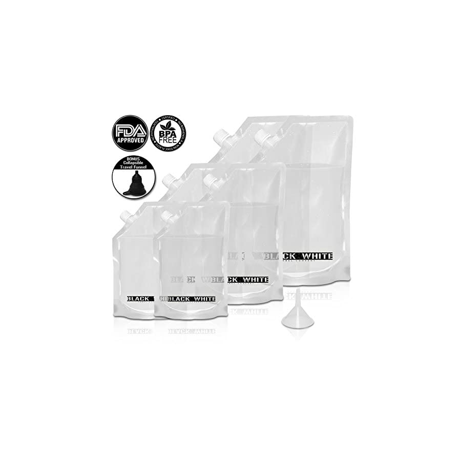 (6) Black & White Label Premium Plastic Flasks Liquor Rum Runner Flask Cruise Kit Sneak Alcohol Drink Wine Pouch Bag Set Heavy Duty Reusable Concealable Flasks For Booze & Cocktails 2x32oz+2x16oz+2x8oz + Funnel