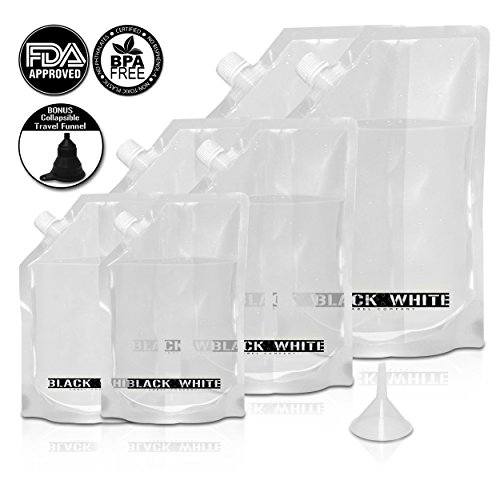 (6) Black & White Label Premium Plastic Flasks - Liquor Rum Runner Flask Cruise Kit Sneak Alcohol Drink Wine Pouch Bag Set Heavy Duty Reusable Concealable Flasks For Booze & Cocktails 2x32oz+2x16oz+2x8oz + Funnel (Rum Black Drinks)