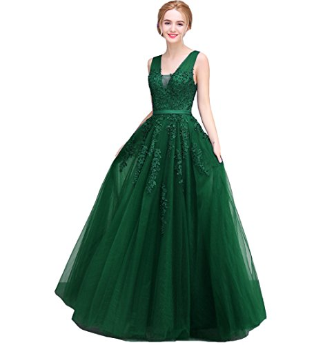 Lemai Tulle Beaded Lace Appliques Long Prom Evening Dress Bridesmaid Emerald Green US ()