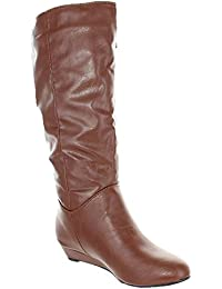 Women's Wide-Calf Slouch Hidden Wedge Boots