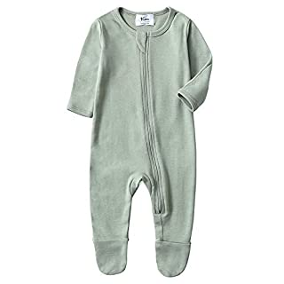 O2Baby Baby Boys Girls Organic Cotton Zip Front Sleeper Pajamas, Footed Sleep 'n Play(Newborn,Desert Sage)