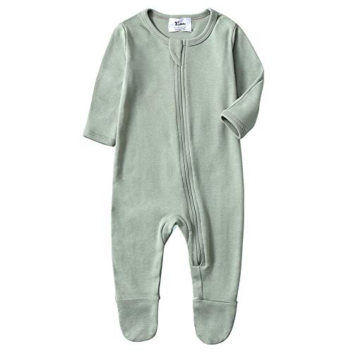 O2Baby Baby Boys Girls Organic Cotton Zip Front Sleeper Pajamas, Footed Sleep 'n Play