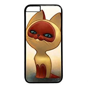 Cute Kitten Drawing Hard PC Black Case Fits Cover Back for iPhone 6 (4.7 inch)