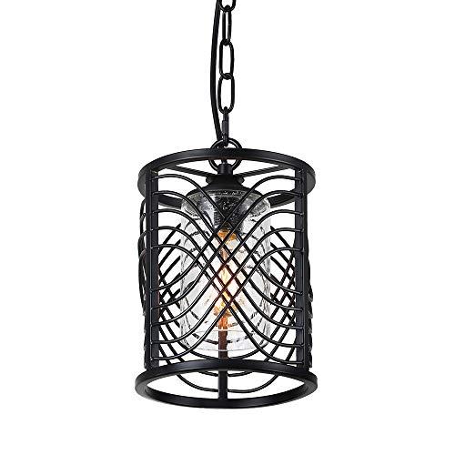 Anmytek Adjustable Metal Chandelier Cylinder Style Iron Frame Net Cage Pendant Light Black Finish Rustic Industrial Edison Hanging Light Kitchen Island Vintage Ceiling Light Fixture 1-Light P0029
