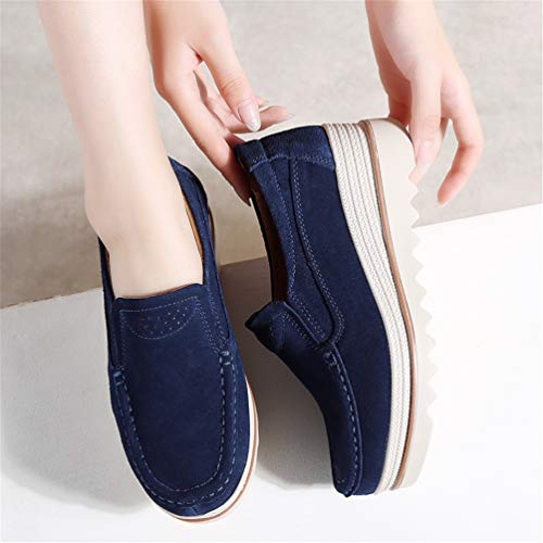 Casual Shoes Camoscio Blu Donne Pelle Sneakers Autunno Scarpe Femal Navy Flats 8qwIUgxw1