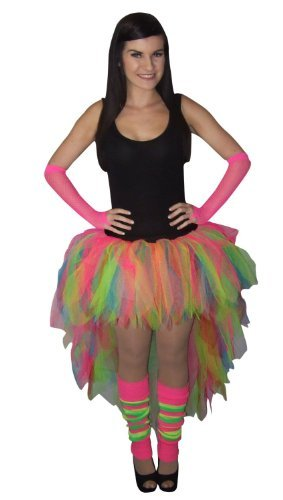 Colourful 80s Carnival Rave Tutu Skirt with Leg Warmers, Gloves. Size 16-22