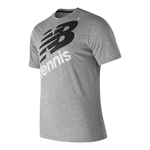 New Balance Men's Graphic Heathered Tennis Crew Shorts Sleeve Shirt, Athletic Grey, Small