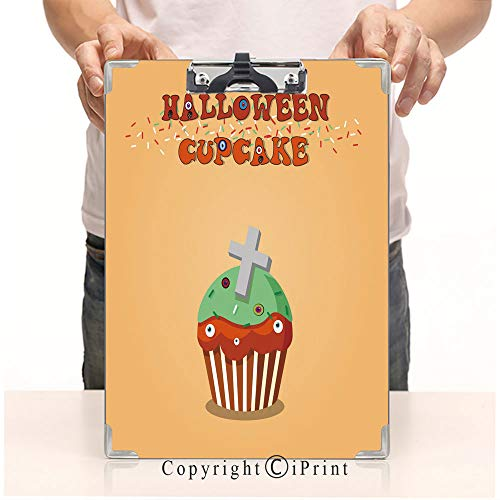 (Aluminum clipboard Paper Clips,Steel Metal clipboard,A4 Folder,Office School Workers use,Cute Happy Halloween Mint Cupcake with Grave Cross and Monster)
