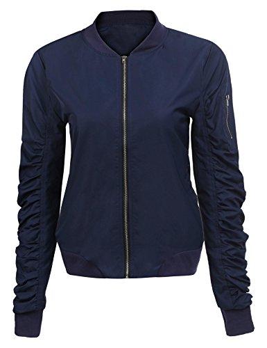 Zeagoo Lightweight Jackets Coat Womens Short Bomber Jacket Quilted Baseball Zip Jacket Coat,Navy Blue,Small