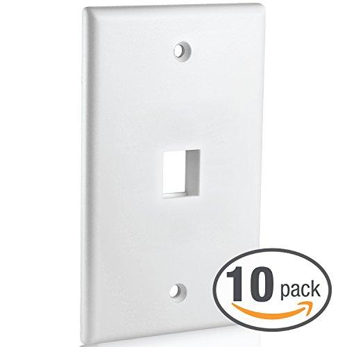 - Mediabridge Keystone Wall Plate (1-Port, White) - 10 Pack (Part# 51W-101-10PK )