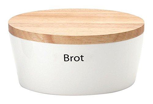 Continenta Brottopf mit Holzdeckel, Brotkasten, oval, Größe: 27 x 20 x 13,5 cm