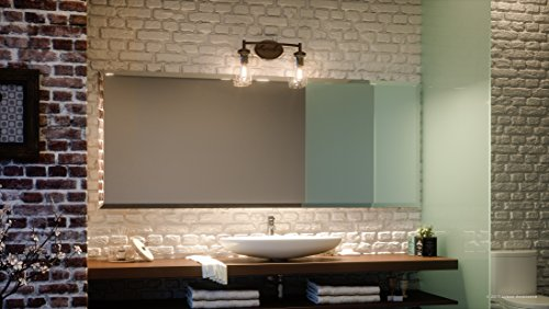 Luxury Vintage Bathroom Vanity Light, Medium Size: 10''H x 16''W, with Antique Style Elements, Elegant Estate Bronze Finish and Seeded Glass, Includes Edison Bulbs, UQL2271 by Urban Ambiance by Urban Ambiance (Image #1)