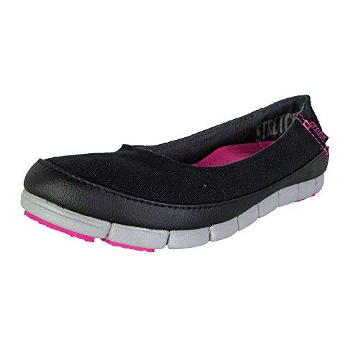 Crocs Women's Stretch Sole Flat 15317 Slip-On Loafer, Bla...