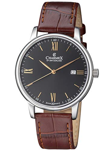 Charmex Luxury Men's 'Amalfi' Wrist Watch Stainless Steel Case and Brown Leather Band - 42mm Analog Watch - Swiss Quartz Movement (Model: CX-3022)