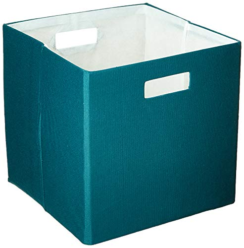 DII Hard Sided Collapsible Fabric Storage Container for Nursery, Offices, & Home Organization, (13x13x13) - Solid Teal