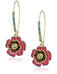 "Betsey Johnson""Garden of Excess"" Rose Long Drop Earring"