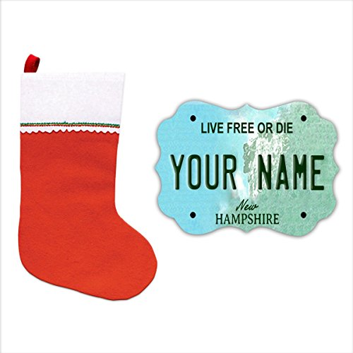 BleuReign(TM) Personalized Custom Name New Hampshire State License Plate Christmas Tree MDF Wood Ornament with Free Holiday Stocking - New Hampshire State Tree