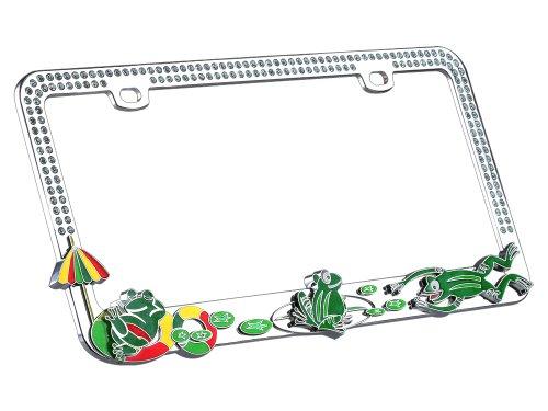 Valor Auto Companion LPF2MC023BLU ranas en un estanque « diseño de metal Licencia Marco de la placa con Cristales Azul