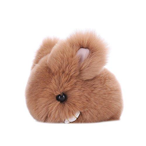 SUPPION Watermelon Rabbit Fur Ball Keychain Bag Plush Car Key Ring Car Key Pendant (R)