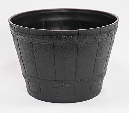 Plastic Whiskey Look Flowerpot/Planter 10X7 Inches for Nursery Indoor, Outdoor, Garden Patio Office Ornaments Home Decor Use Long Lasting Reusable Light Weight (Black-S)
