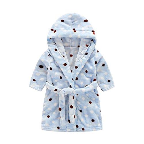 Toddler Waffle - Toddlers/kids Hooded Terry Robe Fleece Bathrobe Children's Pajamas Sleepwear (4T, Blue Polka Dot)