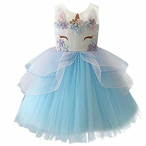 Girls Unicorn Dress Costume Kids Princess Holloween Party