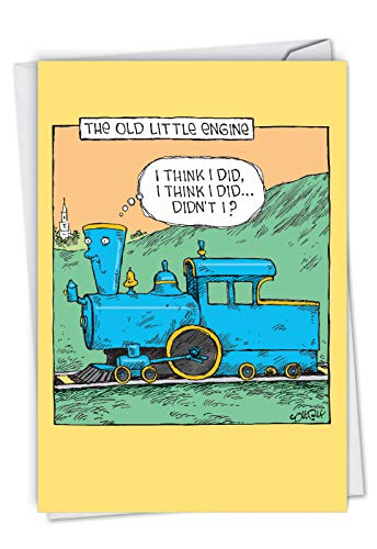 - Old Little Engine: Hysterical Birthday Greeting Card Showing a new take on an old children's classic, with Envelope. C6955BDG