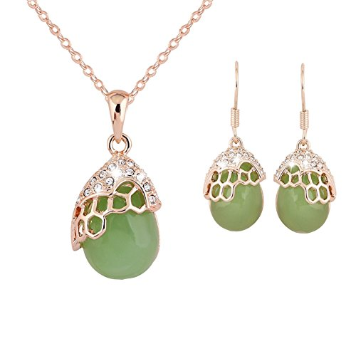 ER-06168C1 Green Lotus Stone Women Necklace Earrings Set