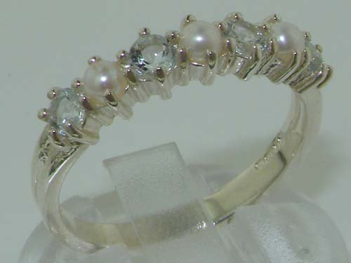 LetsBuyGold 14k White Gold Cultured Pearl & Aquamarine Womans Eternity Ring