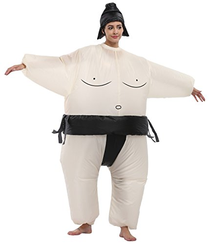 Goodsaleok Funny Sumo Inflatable Costume Halloween Cosplay Fat Inflatable Wrestler Suit, Sumo