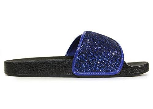 Glid Sandaler För Kvinnor, Kvinnor Ecladea Bekväma [vattentät] Mode Slip-on Glid Sandaler [platta Tofflor] Justerbar Vristrem W / Hak-och-ögla Stängning [70057], Kungsblå Glitter Storlek 10 [oss Storlek]