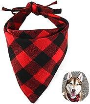 EYLEER Pet Dog Bandana 100% Cotton Reversible Triangle Plaid Bibs Scarf Dog Kerchief Accessories for Medium La