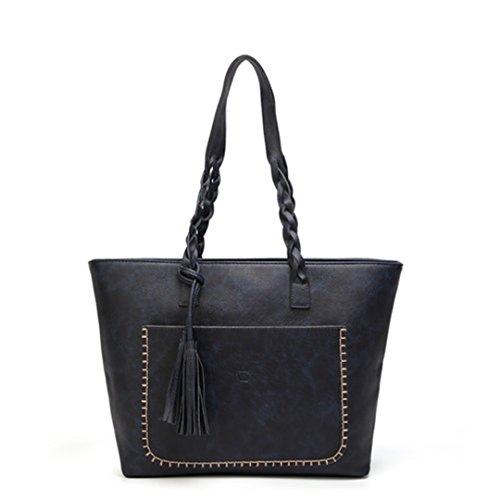 Femmes PU Totes Dame Femme gris Blue à élégantes à quotidienne main bandoulière Vintage Tassel sac rétro causale Sac qtXn84
