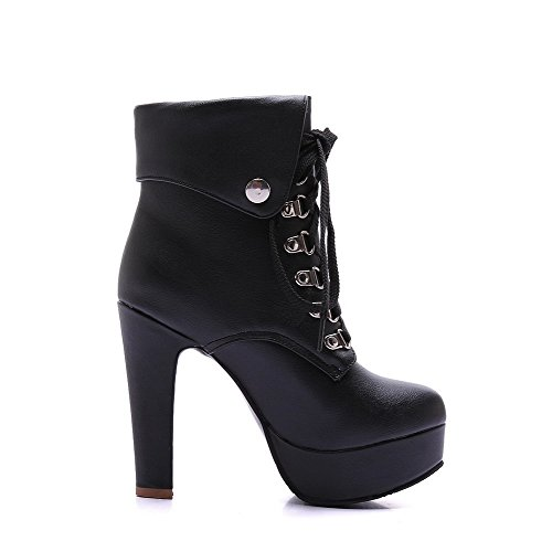 Lace High Women's Up Solid Heels PU Top Boots Black Low WeiPoot wXPFBqF