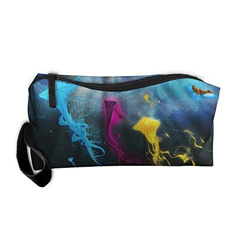 Jessent Coin Pouch Kite Art Pen Holder Clutch Wristlet Wallets Purse Portable Storage Case Cosmetic Bags Zipper