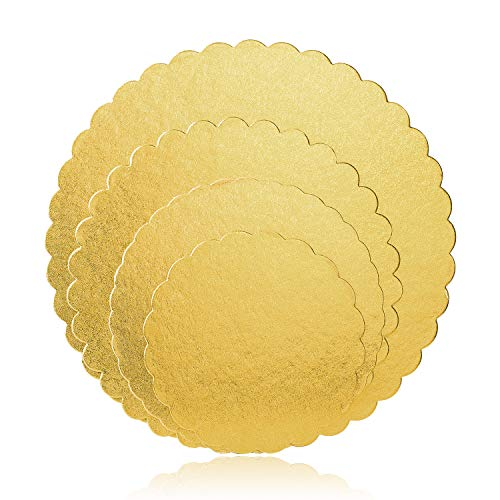 Cake Boards, Sheets for Cake Base Ø 6+8+10+12 Inch Diameter - 4 Pieces (Gold)