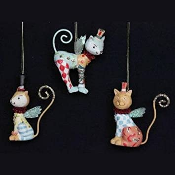 Gisela Graham Set of 3 Resin Fantasy Circus Cat Christmas Tree ...