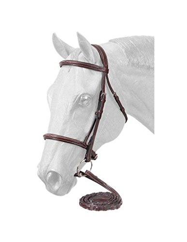 EquiRoyal Premium Padded Fancy Stitched Raised English Bridle - Brown ()
