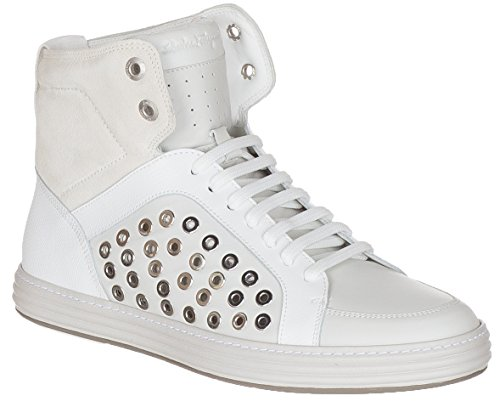 Salvatore Ferragamo Men's Nantucket White Leather Suede High Top Sneakers Shoes, White, 9 (Ferragamo Leather White)