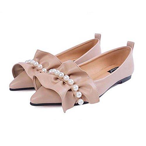 SHEO sandalias de tacón alto La señora señaló a la parte inferior de los zapatos de suela suave de ocio boca baja Albaricoque