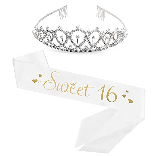 Sweet 16 Sash & Rhinestone Tiara - 16th Birthday Sash 16 Birthday Gifts Birthday Girl Sash(White/Gold)