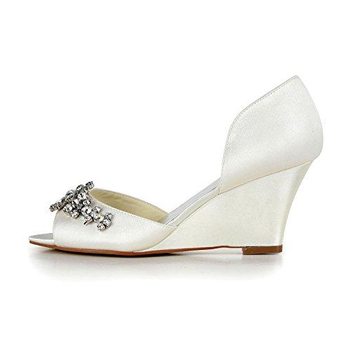 JIA JIA 1217511 Chaussures de Mariée Pour Femme Peep Toe Talon Compensé Strass de Pompes en Satin Chaussures de Mariage Blanc fPOAbA3