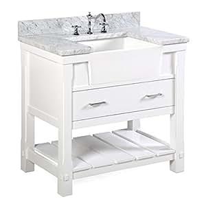 Charlotte 36 Inch Bathroom Vanity Carrara White Includes A Carrara Marble Countertop White