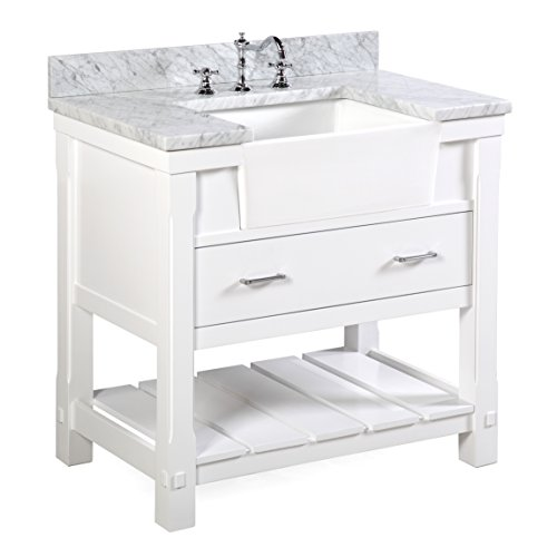 Charlotte 36-inch Bathroom Vanity (Carrara/White): Includes a Carrara Marble Countertop, White Cabinet with Soft Close Drawers, and White Ceramic Farmhouse Apron Sink