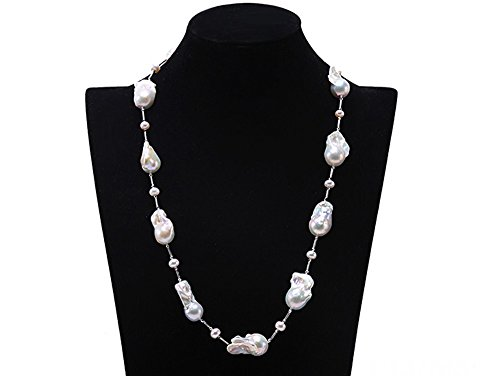 JYX AAA Sterling Silver White Baroque Pearl Necklace 25'' by JYX Pearl