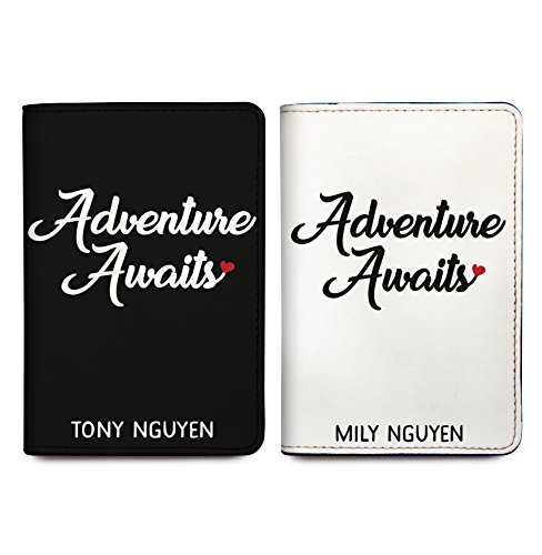 Adventure Awaits - Couple Passport Holder Personalized Passport Cover Set of 2 by With Love From Julie (Image #7)
