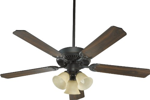 (Quorum International 77525-1795 Capri VI 52-Inch 3 Light Ceiling Fan, Old World Finish with Amber Scavo Glass Light Kit and Reversible Blades)